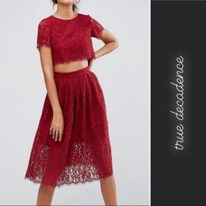 True Decadence Lace Top Crop Midi Dress Maroon 10P